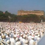 Members of the Dawoodi Bohra community gathering at Azad Maidan in support of Syedna Mufaddal Saifuddin TUS, the 53rd Dai ul Mutlaq